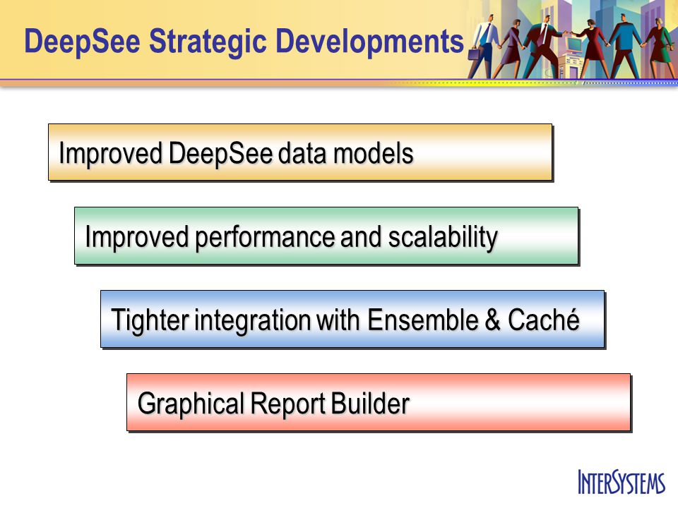DeepSee Strategic Developments Graphical Report Builder Tighter integration with Ensemble & Caché Improved performance and scalability Improved DeepSee data models