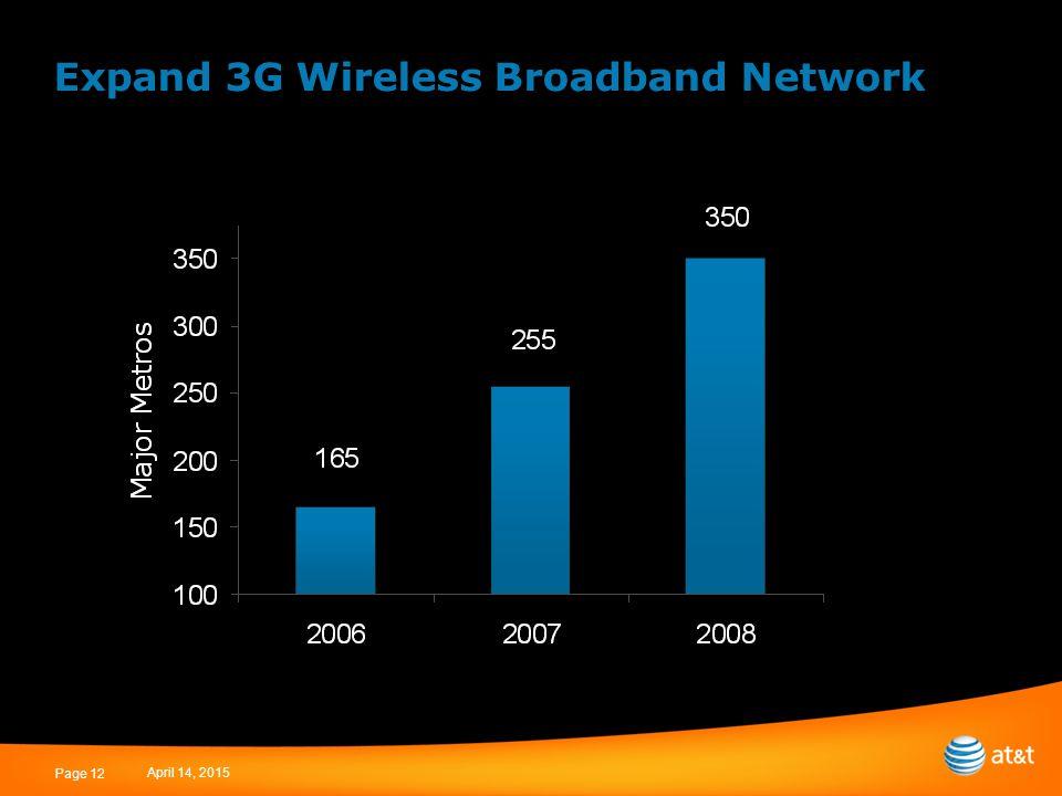 April 14, 2015 Page 12 Expand 3G Wireless Broadband Network