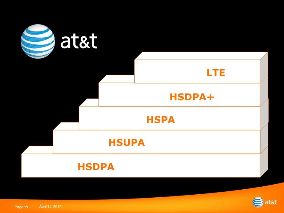 April 14, 2015 Page 19 HSDPA HSUPA HSPA HSDPA+ LTE