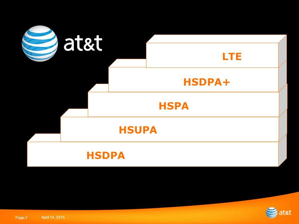 April 14, 2015 Page 7 HSDPA HSUPA HSPA HSDPA+ LTE
