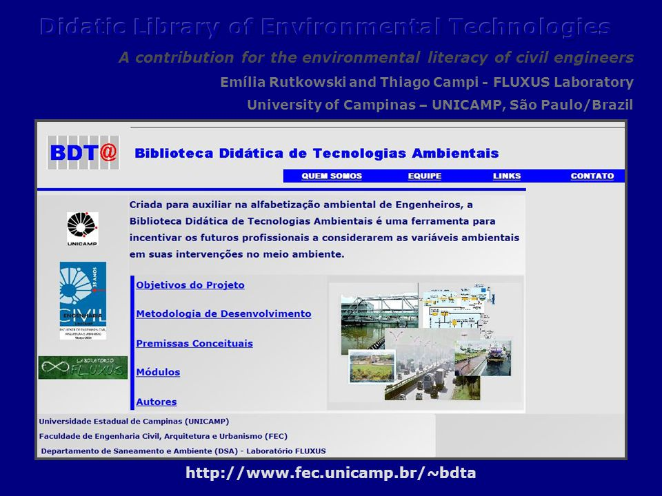 Didactic Library of Environmental Technologies http://www.fec.unicamp.br/~bdta
