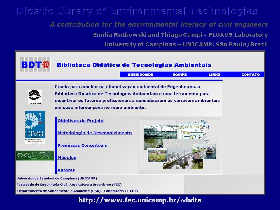 Didactic Library of Environmental Technologies http://www.fec.unicamp.br/~bdta Contact: bdta@fec.unicamp.br University of Campinas – UNICAMP, São Paulo/Brazil