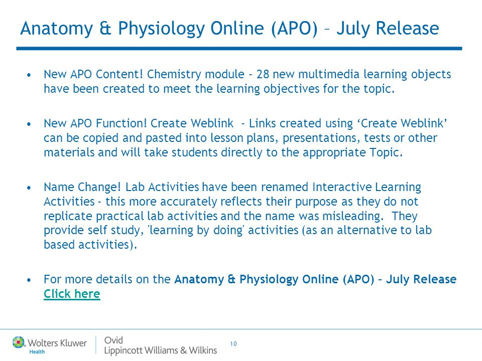 10 Anatomy & Physiology Online (APO) – July Release New APO Content.