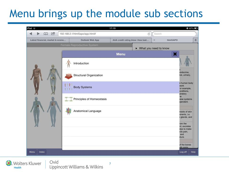 7 Menu brings up the module sub sections