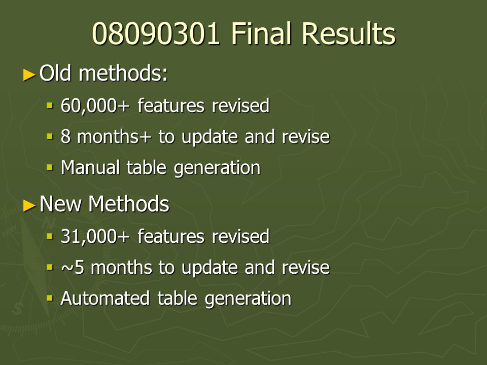 08090301 Final Results ► Old methods:  60,000+ features revised  8 months+ to update and revise  Manual table generation ► New Methods  31,000+ features revised  ~5 months to update and revise  Automated table generation