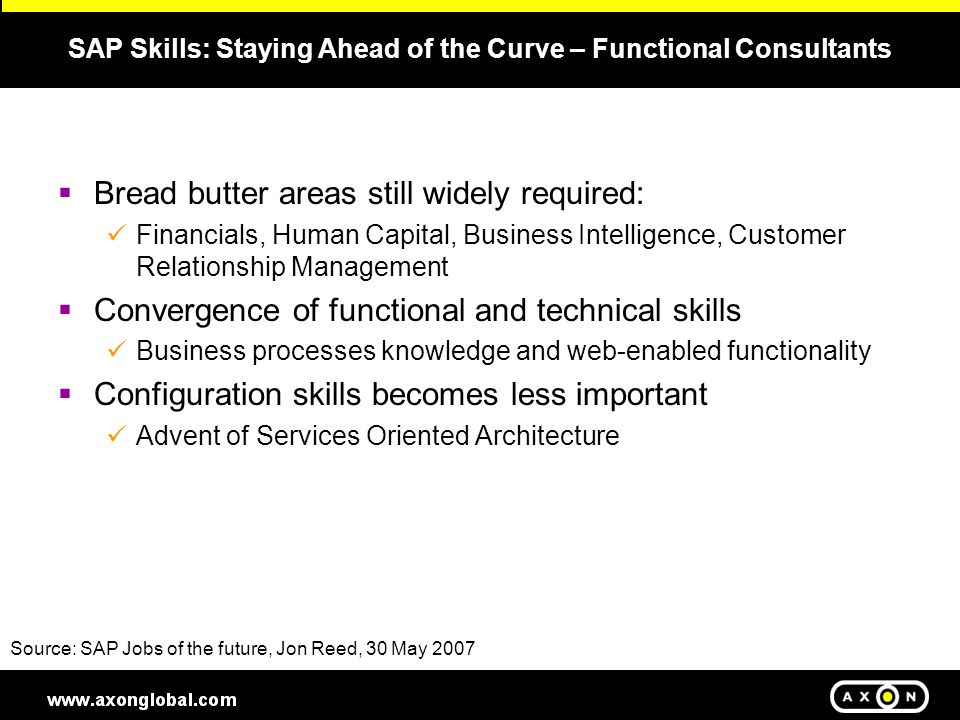 SAP Skills: Staying Ahead of the Curve – Technical Consultant  ABAP and JAVA-based Skills are the fundamentals  Custom Development dramatically reduced Visual Composer Source: SAP Jobs of the future, Jon Reed, 30 May 2007