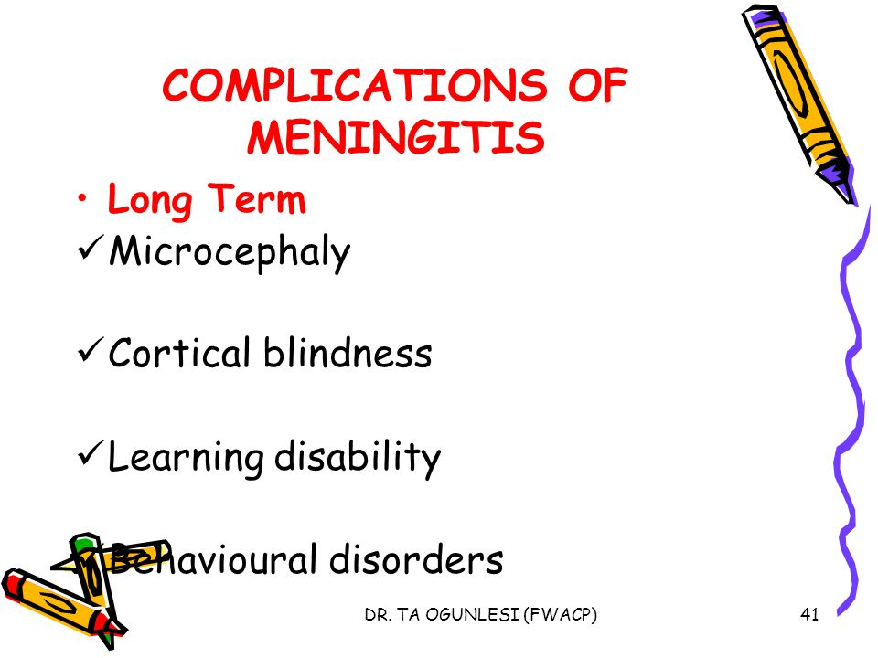 DR. TA OGUNLESI (FWACP)41 COMPLICATIONS OF MENINGITIS Long Term Microcephaly Cortical blindness Learning disability Behavioural disorders