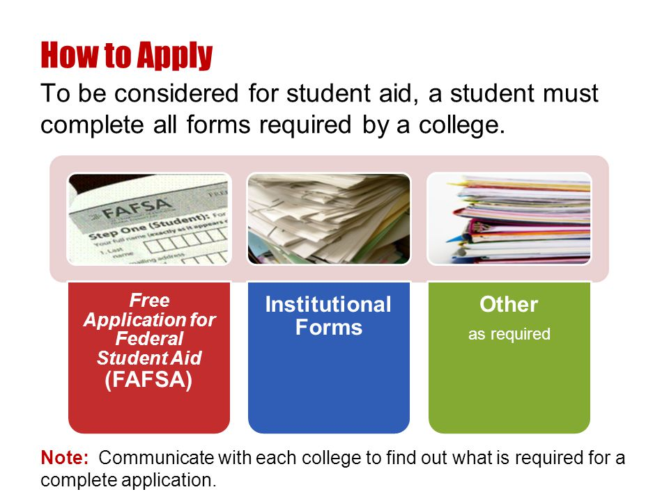 Note: Communicate with each college to find out what is required for a complete application.