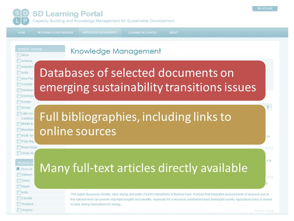 Databases of selected documents on emerging sustainability transitions issues Full bibliographies, including links to online sources Many full-text articles directly available