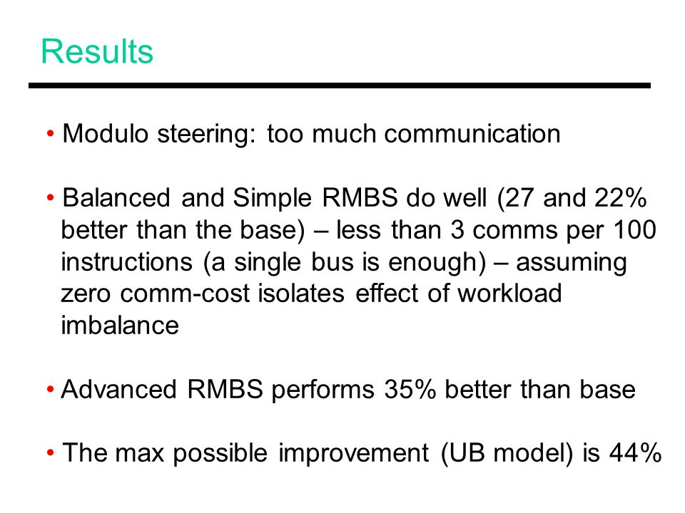 Results Modulo steering: too much communication Balanced and Simple RMBS do well (27 and 22% better than the base) – less than 3 comms per 100 instructions (a single bus is enough) – assuming zero comm-cost isolates effect of workload imbalance Advanced RMBS performs 35% better than base The max possible improvement (UB model) is 44%