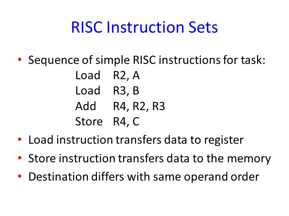 RISC Instruction Sets Sequence of simple RISC instructions for task: Load R2, A Load R3, B Add R4, R2, R3 Store R4, C Load instruction transfers data