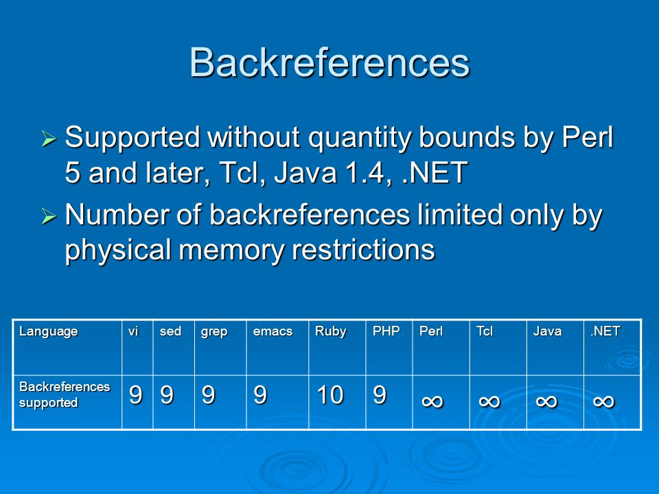 Backreferences  Supported without quantity bounds by Perl 5 and later, Tcl, Java 1.4,.NET  Number of backreferences limited only by physical memory restrictions LanguagevisedgrepemacsRubyPHPPerlTclJava.NET Backreferences supported 9999109∞∞∞∞