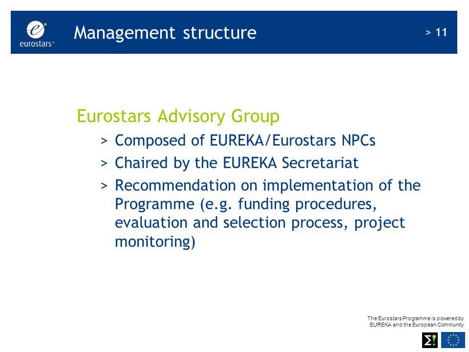 The Eurostars Programme is powered by EUREKA and the European Community > 11 Management structure Eurostars Advisory Group >Composed of EUREKA/Eurosta