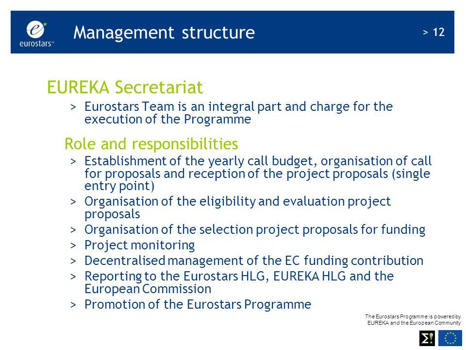 The Eurostars Programme is powered by EUREKA and the European Community > 12 Management structure EUREKA Secretariat >Eurostars Team is an integral pa