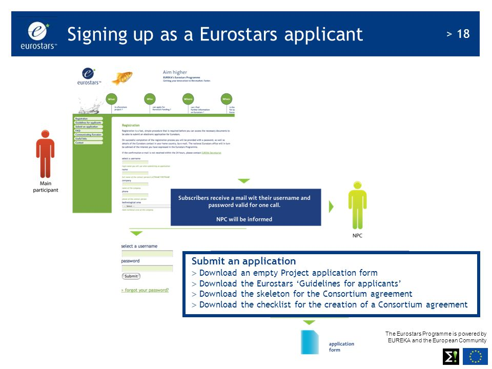 The Eurostars Programme is powered by EUREKA and the European Community > 18 Signing up as a Eurostars applicant Submit an application  Download an e