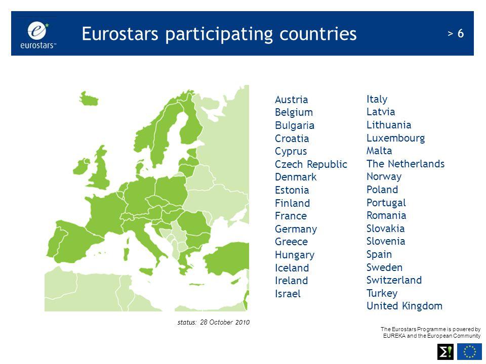 The Eurostars Programme is powered by EUREKA and the European Community > 6 Austria Belgium Bulgaria Croatia Cyprus Czech Republic Denmark Estonia Fin