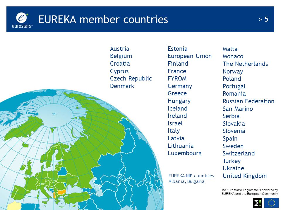 The Eurostars Programme is powered by EUREKA and the European Community > 26 Cover note