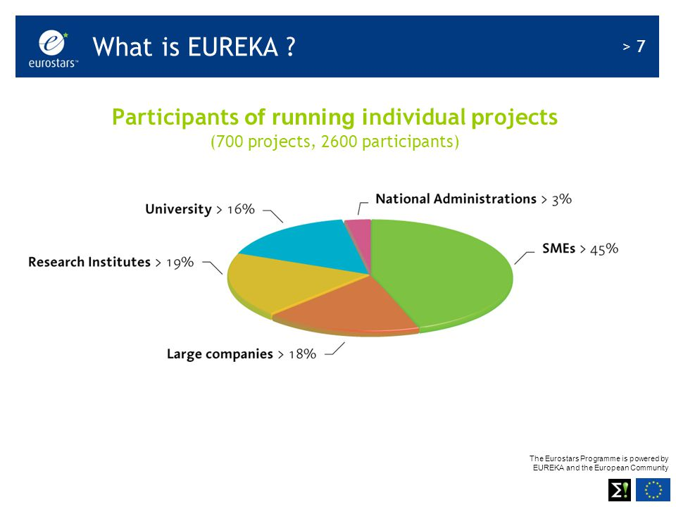 The Eurostars Programme is powered by EUREKA and the European Community > 7 Participants of running i ndividual p rojects (700 projects, 2600 participants) What is EUREKA
