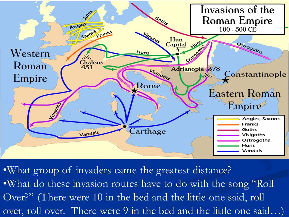 """What group of invaders came the greatest distance? What do these invasion routes have to do with the song """"Roll Over?"""" (There were 10 in the bed and t"""
