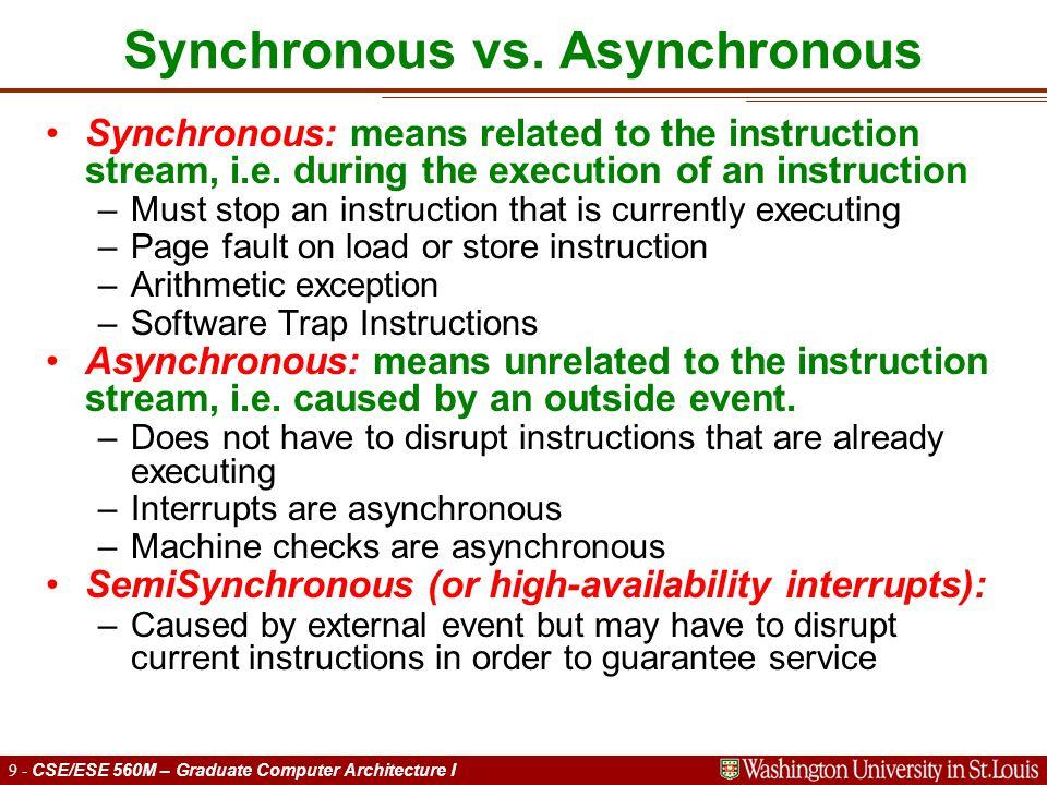 9 - CSE/ESE 560M – Graduate Computer Architecture I Synchronous vs.