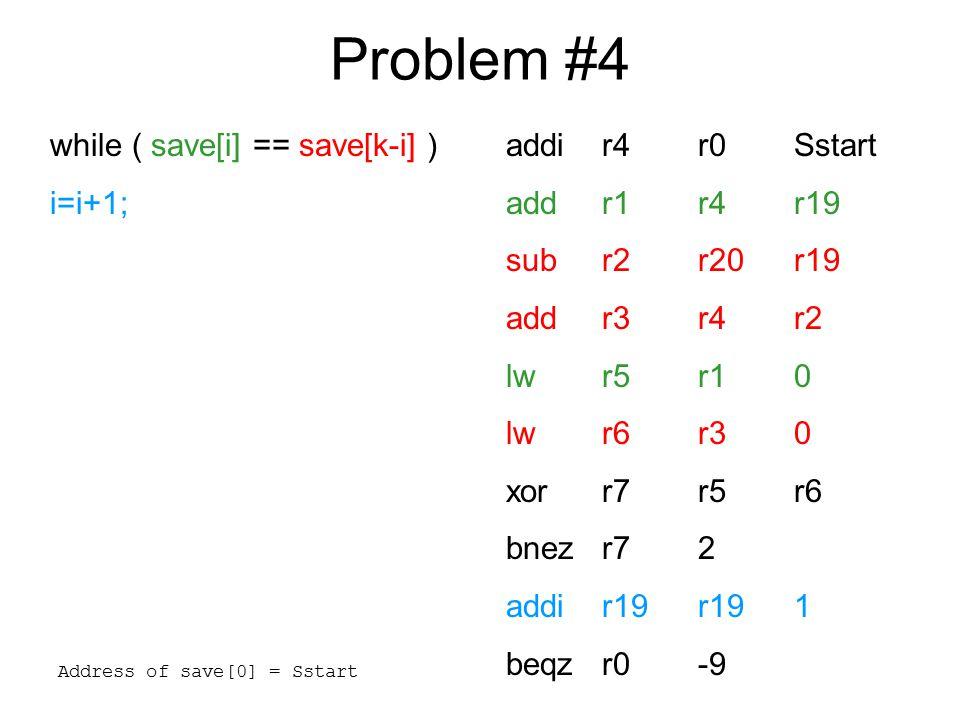 Problem #5 addir4r210 bnezr42 addr16r19r20 beqzr011 addir4r4-1 bnezr42 addr16r17r18 beqzr07 addir4r4-1 bnezr42 subr16r17r18 beqzr03 addir4r4-1 bnezr41 subr16r19r20 switch(k){ case 0: f=i+j; break; case 1: f=g+h; break; case 2: f=g-h; break; case 3: f=i-j; }