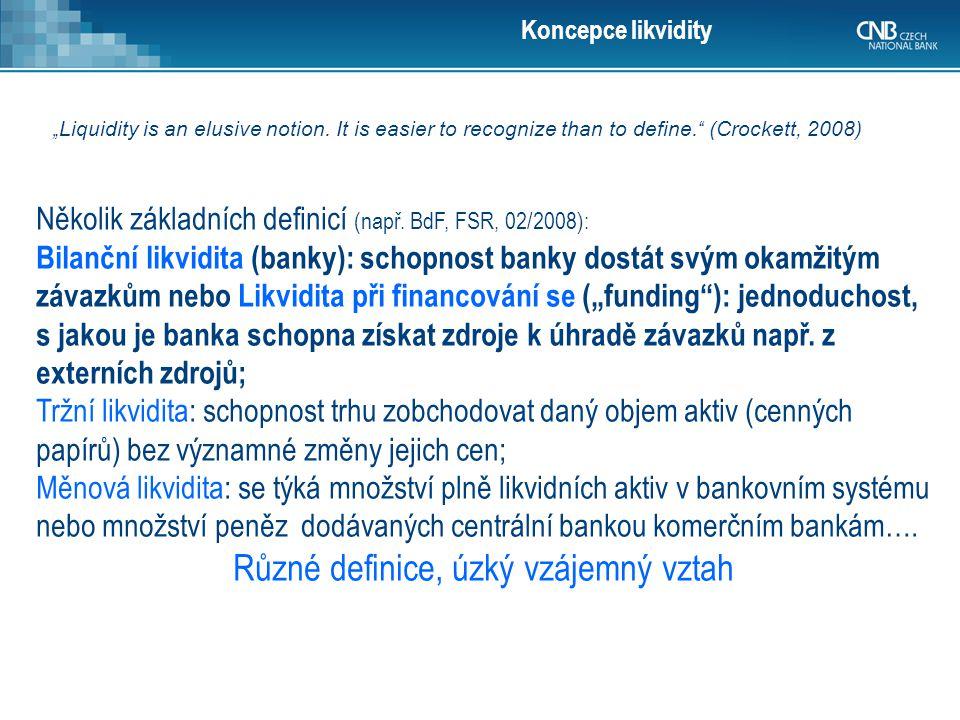 Koncepce likvidity Několik základních definicí (např. BdF, FSR, 02/2008): Bilanční likvidita (banky): schopnost banky dostát svým okamžitým závazkům n