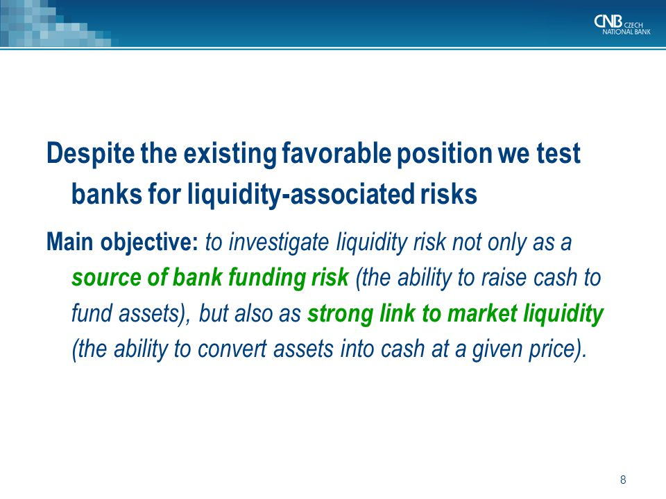 19 Mitigate the impact of shocks LIQUIDITY SHORTFALL ==> Reactions by banks ==> Mitigate 1 st round effects ==> ↓Liquidity buffer (LB 1 ) Reaction: banks can reduce assets only due to constrains on funding (the liability side can not be increased): (a)banks first liquidate the initial liquidity buffer (the most liquid assets) reflecting market liquidity, their specialization and their strength of presence in financial markets – cash, claims on CEBs, sovereign bonds…), (b)and then the other items (run out of liquidity buffer) – high haircuts.