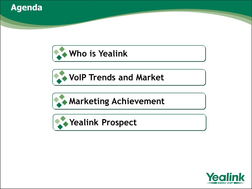Agenda Who is Yealink VoIP Trends and Market Marketing Achievement Yealink Prospect