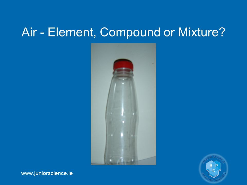 www.juniorscience.ie Air - Element, Compound or Mixture?