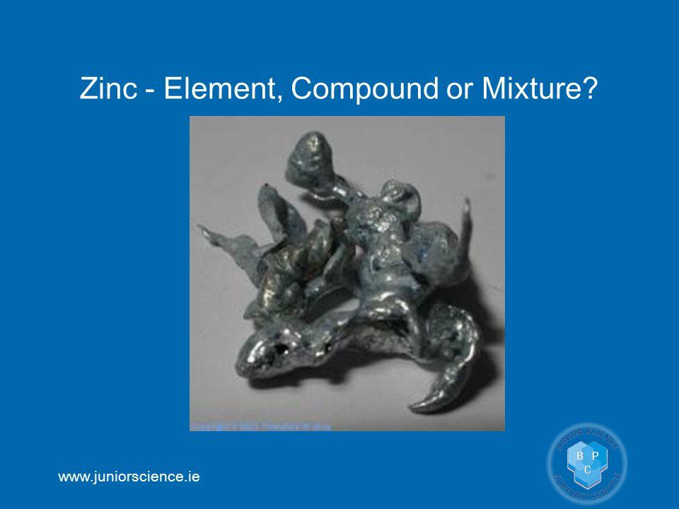 www.juniorscience.ie Zinc - Element, Compound or Mixture?