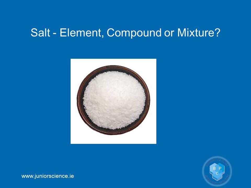 www.juniorscience.ie Salt - Element, Compound or Mixture?