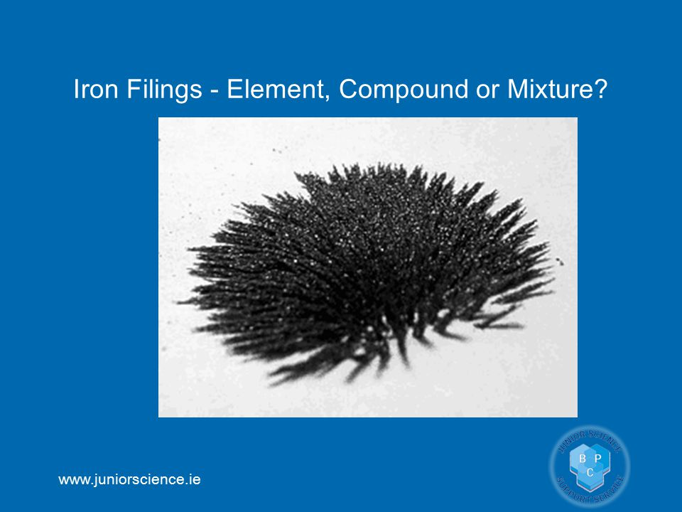 www.juniorscience.ie Iron Filings - Element, Compound or Mixture?