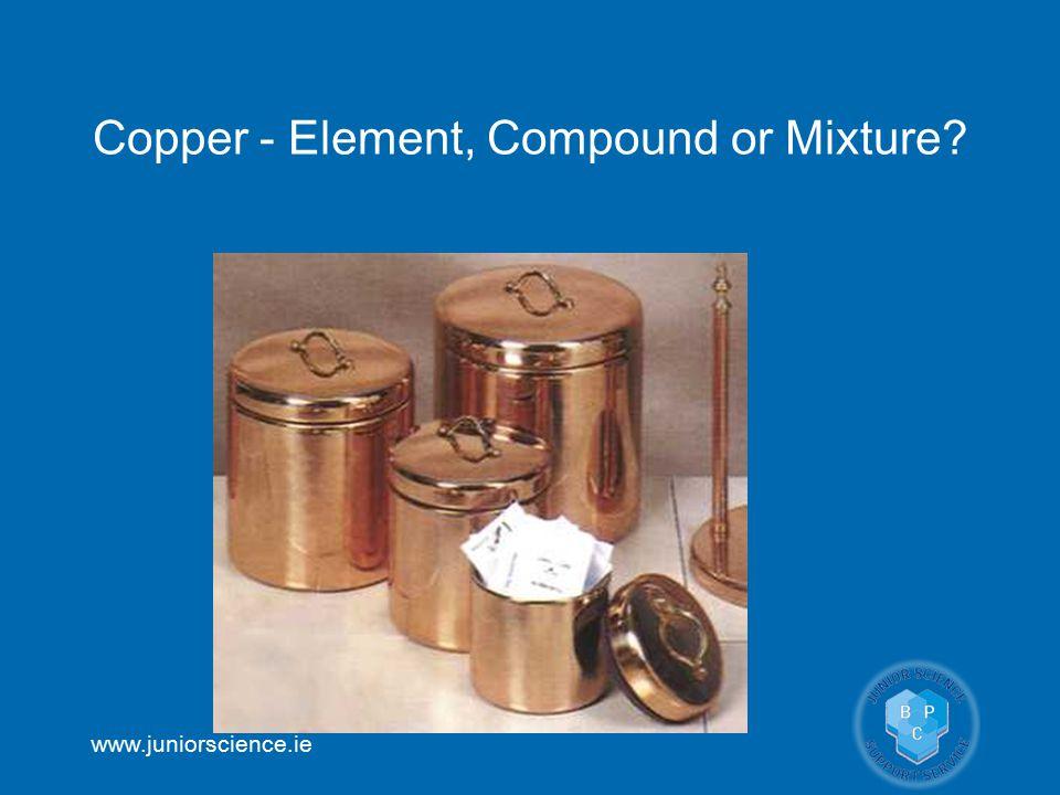 www.juniorscience.ie Copper - Element, Compound or Mixture?