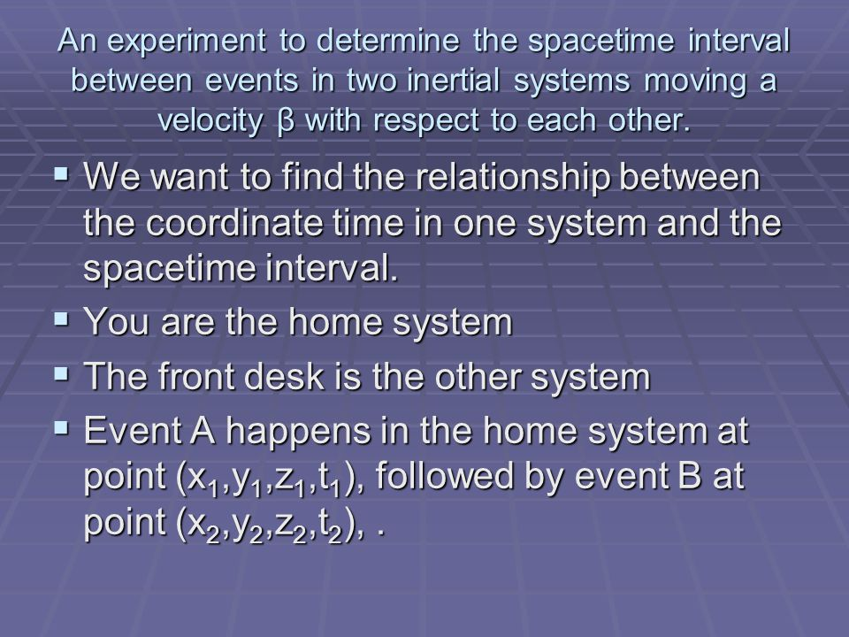 An experiment to determine the spacetime interval between events in two inertial systems moving a velocity β with respect to each other.  We want to