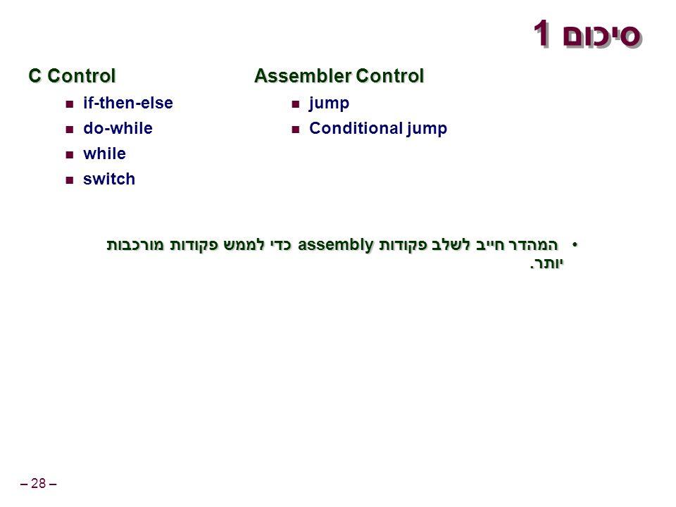 – 28 – סיכום 1 C Control if-then-else do-while while switch Assembler Control jump Conditional jump המהדר חייב לשלב פקודות assembly כדי לממש פקודות מורכבות יותר.