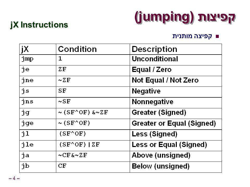 – 4 – קפיצות (jumping) jX Instructions קפיצה מותנית