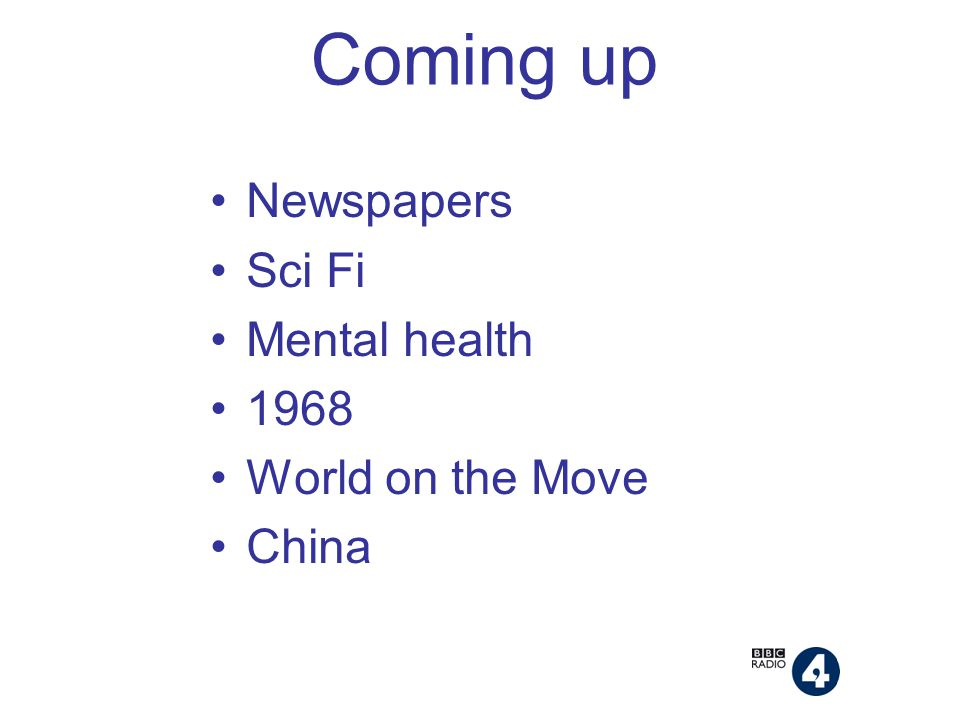Coming up Newspapers Sci Fi Mental health 1968 World on the Move China