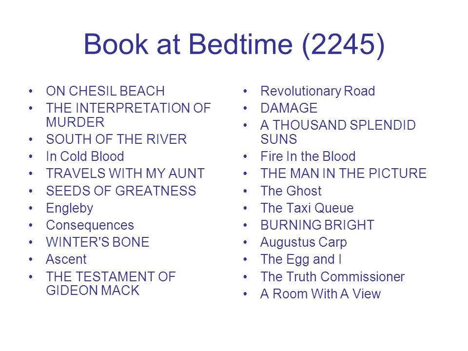 Book at Bedtime (2245) ON CHESIL BEACH THE INTERPRETATION OF MURDER SOUTH OF THE RIVER In Cold Blood TRAVELS WITH MY AUNT SEEDS OF GREATNESS Engleby C