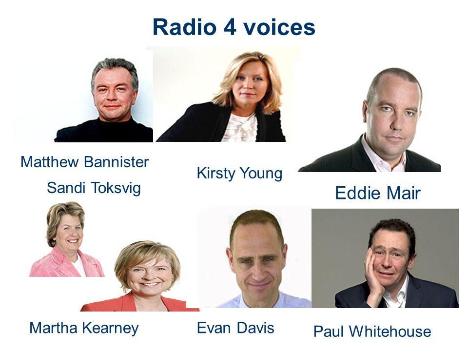 Radio 4 voices Martha Kearney Matthew Bannister Kirsty Young Evan Davis Eddie Mair Paul Whitehouse Sandi Toksvig