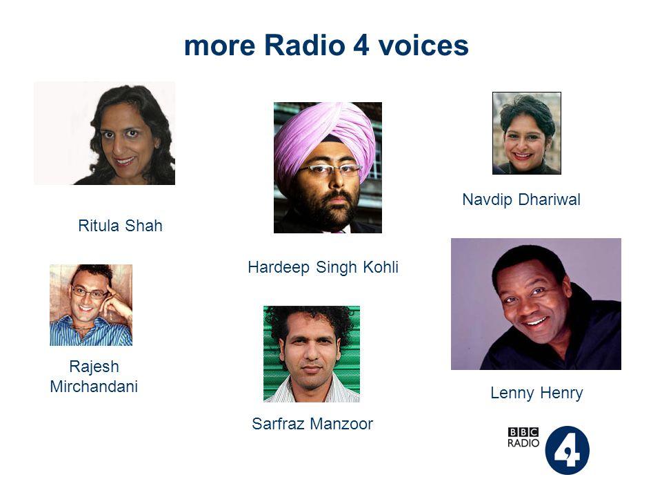 more Radio 4 voices Ritula Shah Navdip Dhariwal Hardeep Singh Kohli Rajesh Mirchandani Sarfraz Manzoor Lenny Henry