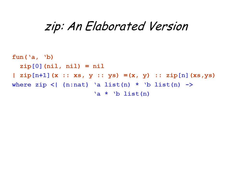 zip: An Elaborated Version fun('a, 'b) zip[0](nil, nil) = nil | zip[n+1](x :: xs, y :: ys) =(x, y) :: zip[n](xs,ys) where zip 'a * 'b list(n)