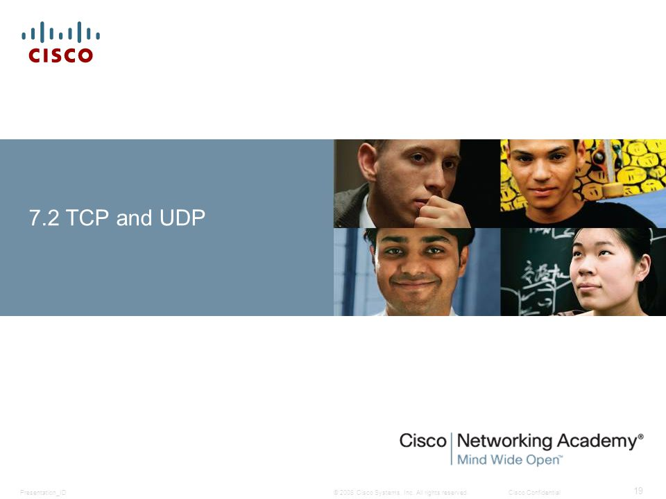 © 2008 Cisco Systems, Inc. All rights reserved.Cisco ConfidentialPresentation_ID 19 7.2 TCP and UDP