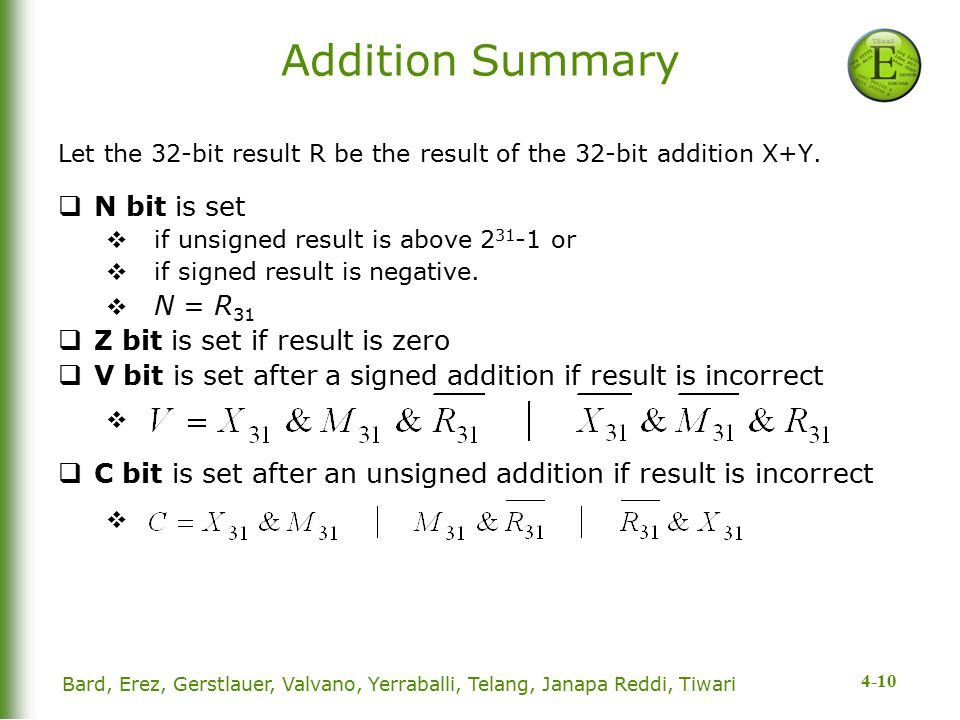 4-10 Addition Summary Let the 32-bit result R be the result of the 32-bit addition X+Y.