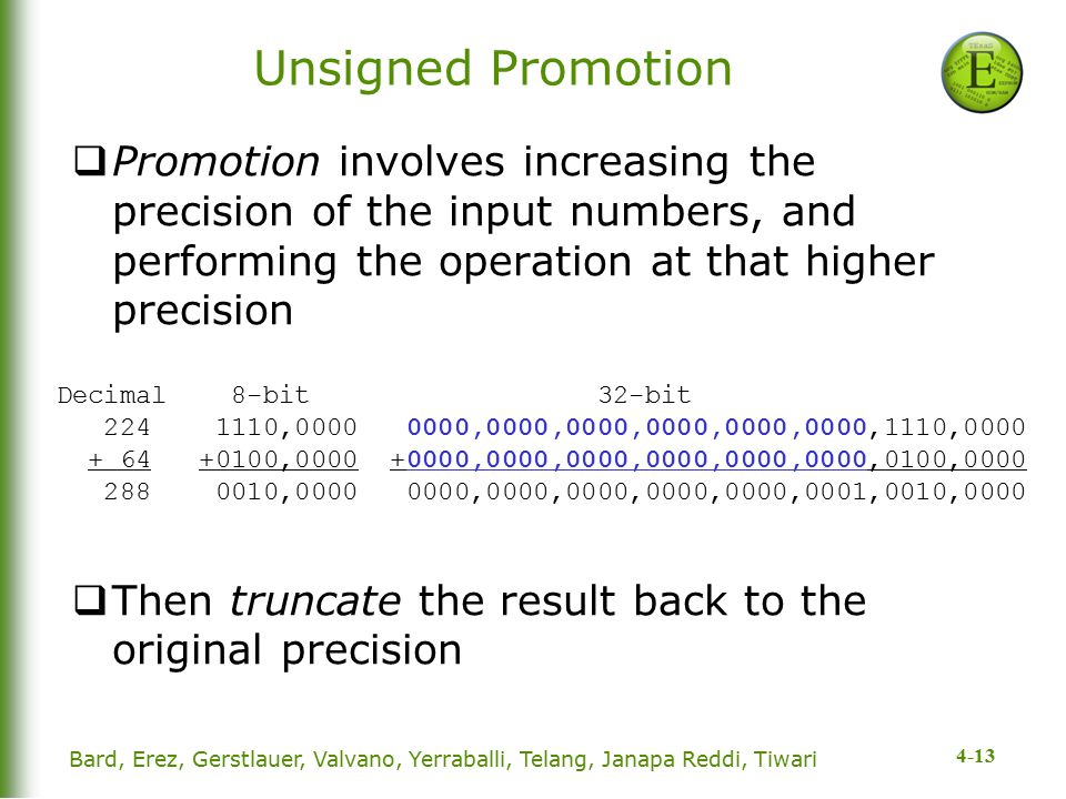 4-13 Bard, Erez, Gerstlauer, Valvano, Yerraballi, Telang, Janapa Reddi, Tiwari Unsigned Promotion  Promotion involves increasing the precision of the input numbers, and performing the operation at that higher precision  Then truncate the result back to the original precision Decimal 8-bit 32-bit 224 1110,0000 0000,0000,0000,0000,0000,0000,1110,0000 + 64 +0100,0000 +0000,0000,0000,0000,0000,0000,0100,0000 288 0010,0000 0000,0000,0000,0000,0000,0001,0010,0000