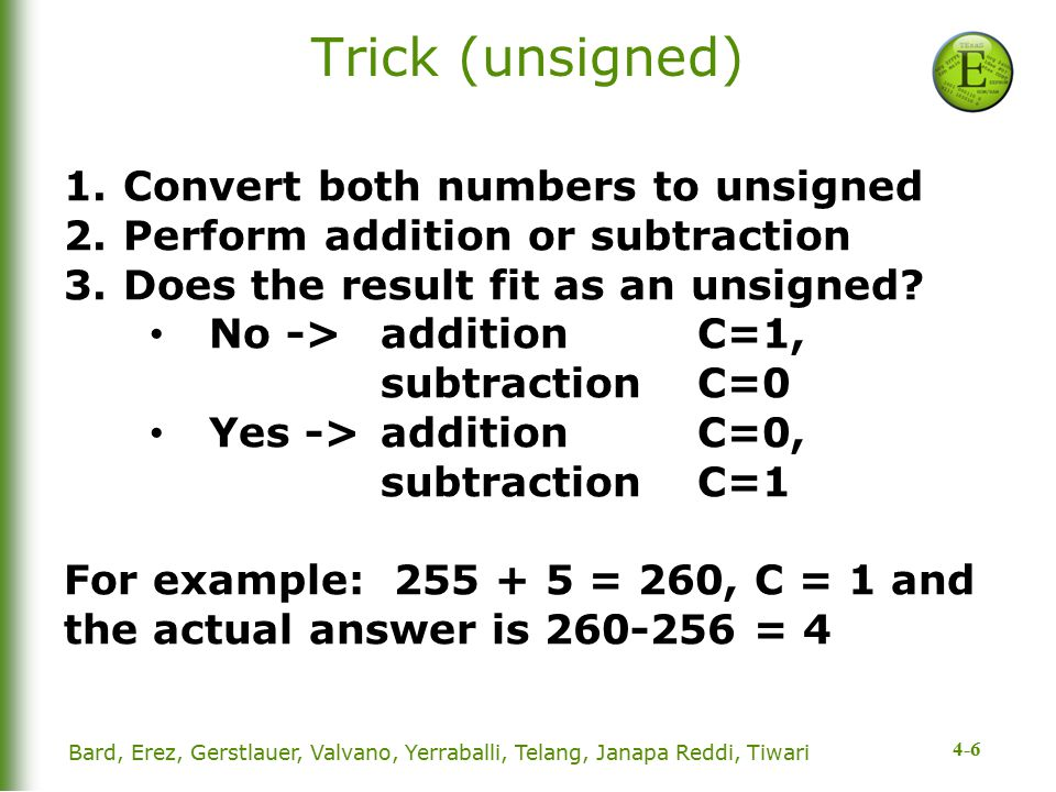 4-6 Trick (unsigned) 1.Convert both numbers to unsigned 2.Perform addition or subtraction 3.Does the result fit as an unsigned.