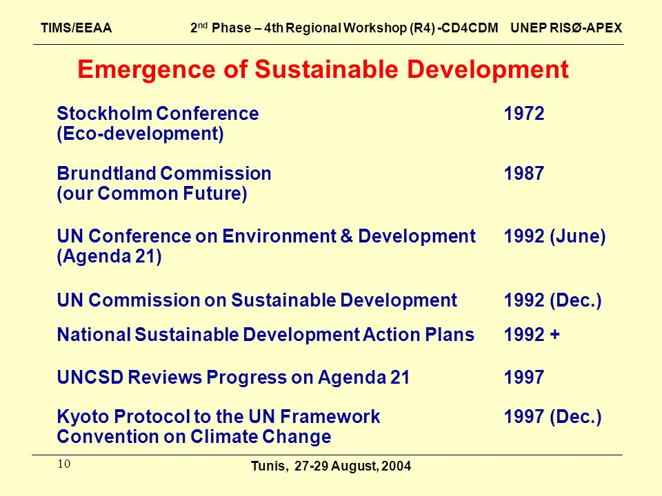 10 Emergence of Sustainable Development 1972Stockholm Conference (Eco-development) 1987Brundtland Commission (our Common Future) 1992 (June)UN Confere