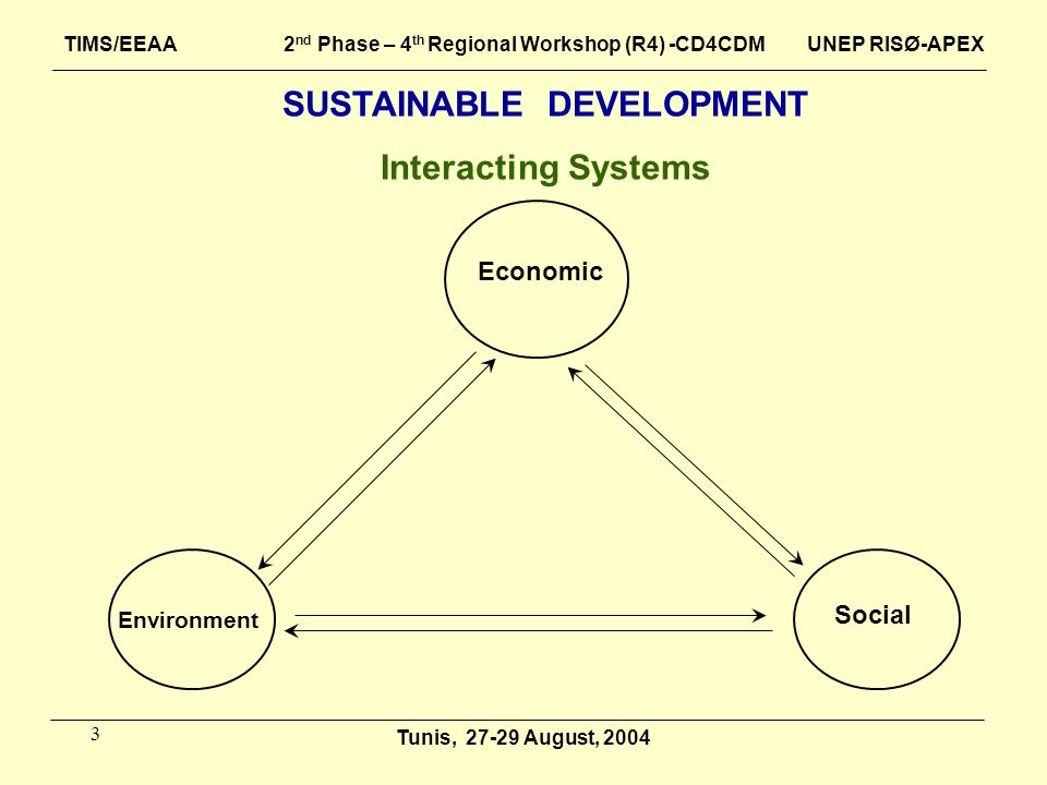 3 SUSTAINABLE DEVELOPMENT Interacting Systems Environment Social Tunis, 27-29 August, 2004 Economic TIMS/EEAA 2 nd Phase – 4 th Regional Workshop (R4)
