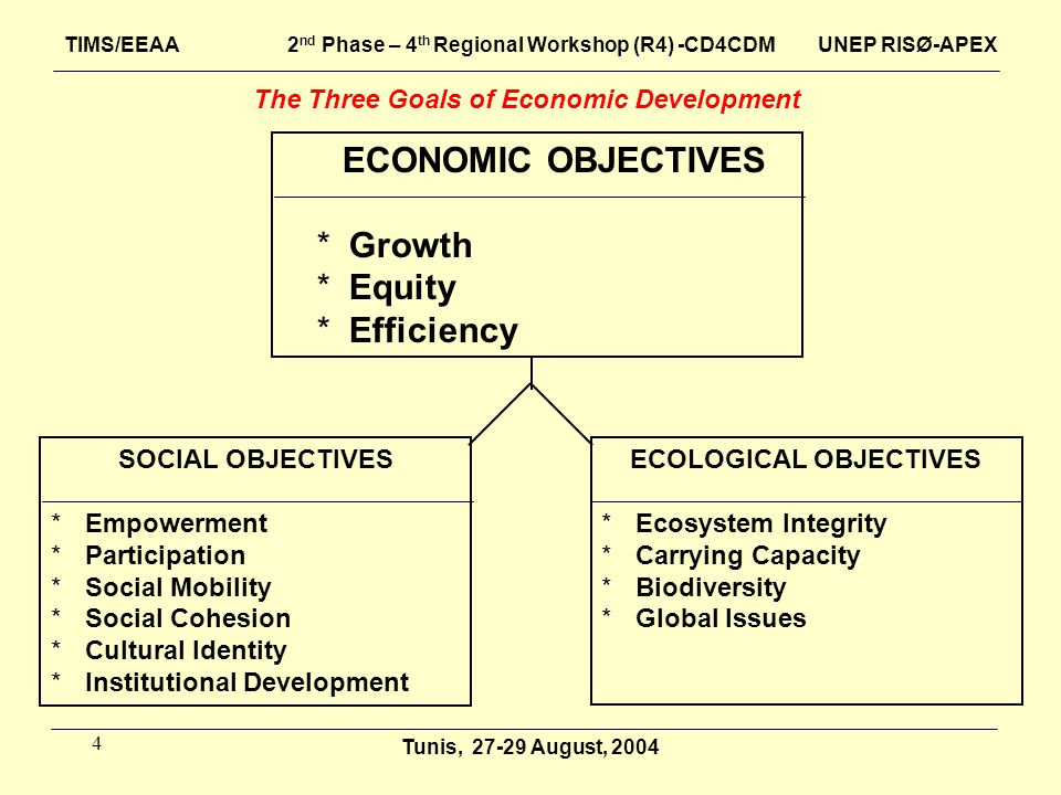 4 ECONOMIC OBJECTIVES *Growth *Equity *Efficiency SOCIAL OBJECTIVES *Empowerment *Participation *Social Mobility *Social Cohesion *Cultural Identity *