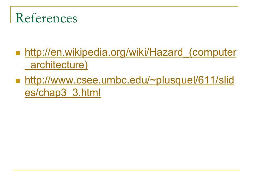 References http://en.wikipedia.org/wiki/Hazard_(computer _architecture) http://en.wikipedia.org/wiki/Hazard_(computer _architecture) http://www.csee.umbc.edu/~plusquel/611/slid es/chap3_3.html http://www.csee.umbc.edu/~plusquel/611/slid es/chap3_3.html