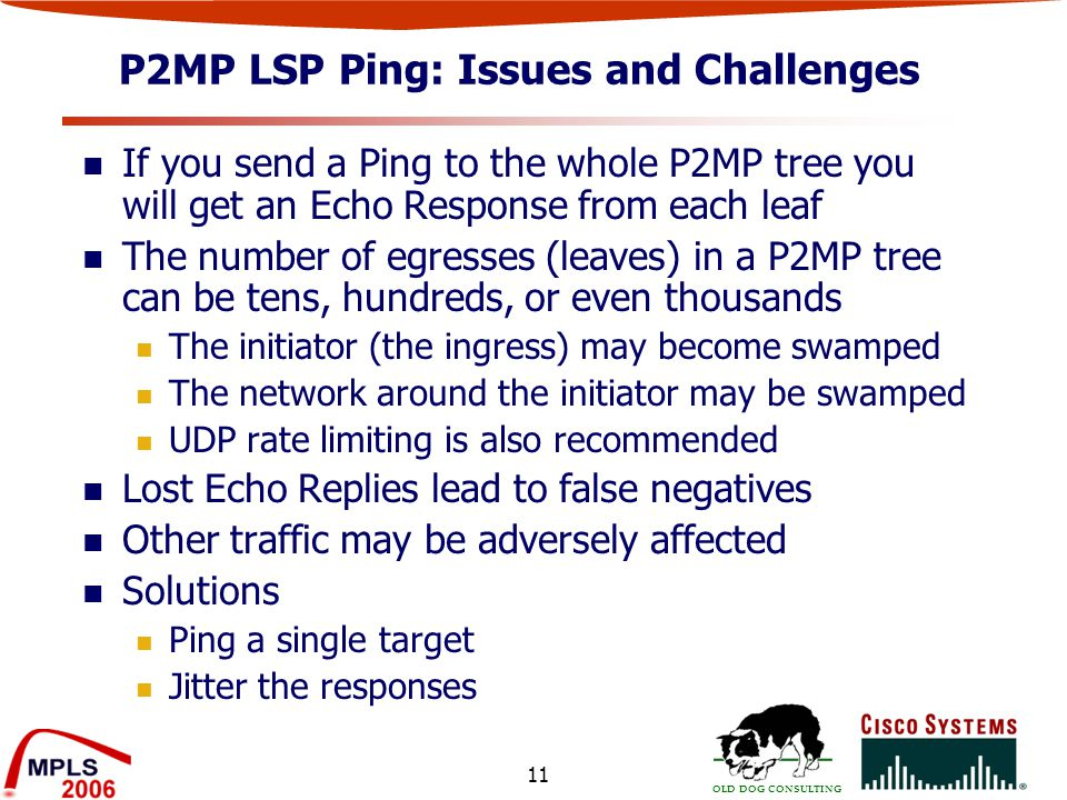 OLD DOG CONSULTING 11 P2MP LSP Ping: Issues and Challenges If you send a Ping to the whole P2MP tree you will get an Echo Response from each leaf The number of egresses (leaves) in a P2MP tree can be tens, hundreds, or even thousands The initiator (the ingress) may become swamped The network around the initiator may be swamped UDP rate limiting is also recommended Lost Echo Replies lead to false negatives Other traffic may be adversely affected Solutions Ping a single target Jitter the responses